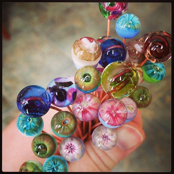Glass headpin bouquet #lampwork #glassaddictions by GlassAddictions, via Flickr