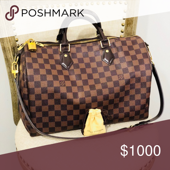 fc26ac4fc3be Louis Vuitton Speedy Bandoulière 35 Pre-Owned Louis Vuitton Speedy  Bandoulière 35 Classic Damier Ebene canvas 100% authentic Iconic shape w  a  versatile ...