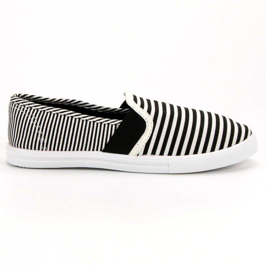 Shelovet Slipony W Paski Biale Czarne Sneakers Slip On Sneaker Shoes