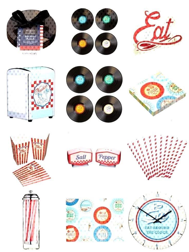 Retro American Diner Theme Clock Hotdag Trays Choose Retro American Diner The