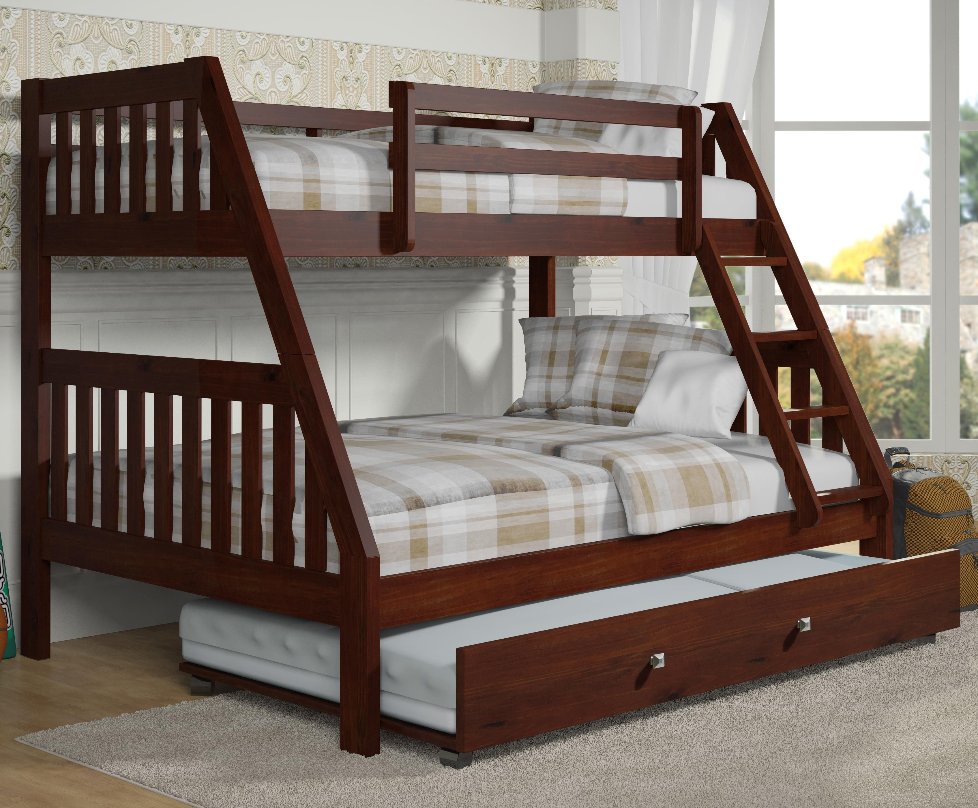 Solid Wood Espresso Twin Over FULL Bunk Bed With Trundle