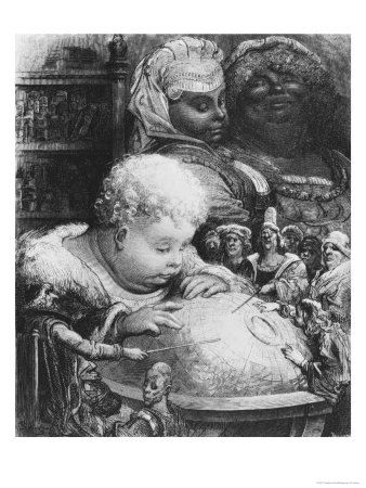 224406 Education Of Gargantua Illustration From Gargantua By Francois Rabelais 1494 1553 Posters Jpg 338 450 Gustave Dore Etching Prints Illustration