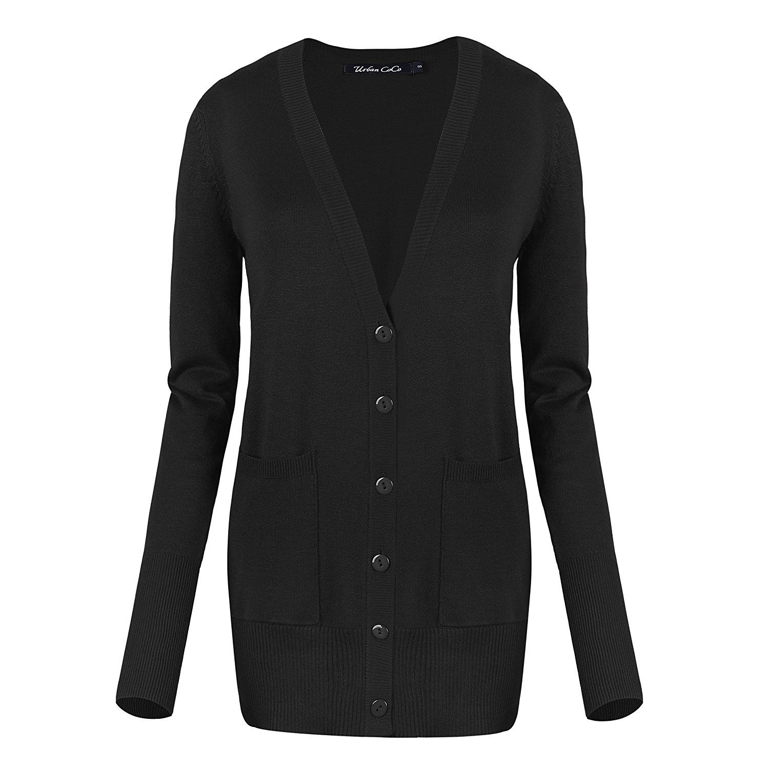 Urban CoCo Women's Long Sleeve Button Down Basic Cardigan Sweater ...