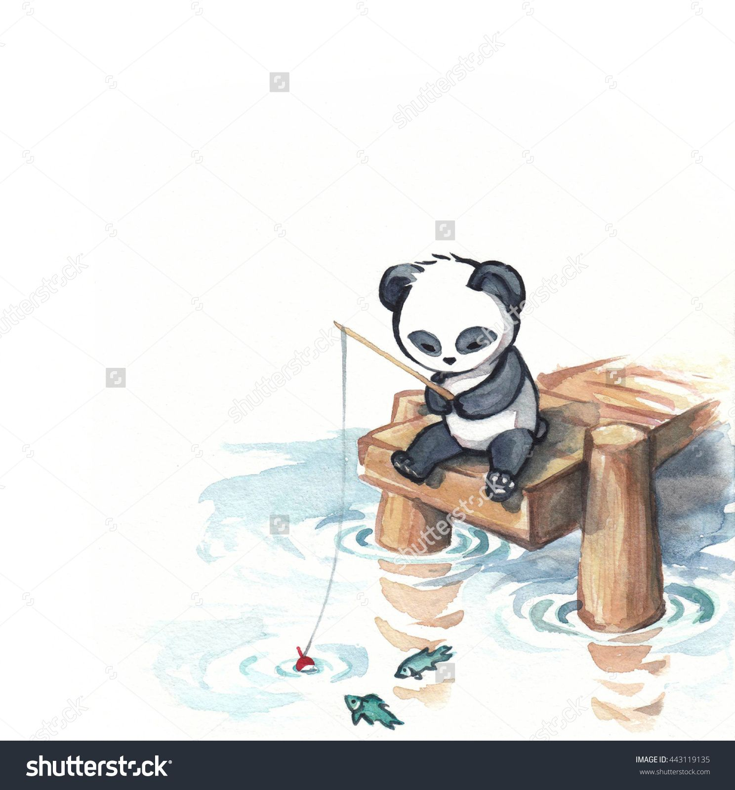 Adorable Panda Bear Fishing From Dock With Fishing Pole Hand
