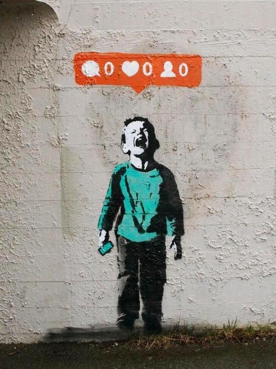 Banksy Leinwand (fertig zum Aufhängen) - niemand mag mich - mehrere Leinwand-Größen
