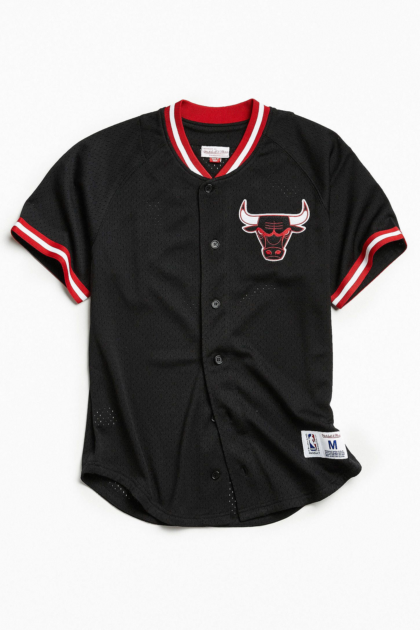 e8d99b14817 shopping mens starter red black chicago bulls baseball jersey 93ee4 2b040;  sweden shop mitchell ness chicago bulls button front jersey at urban  outfitters ...