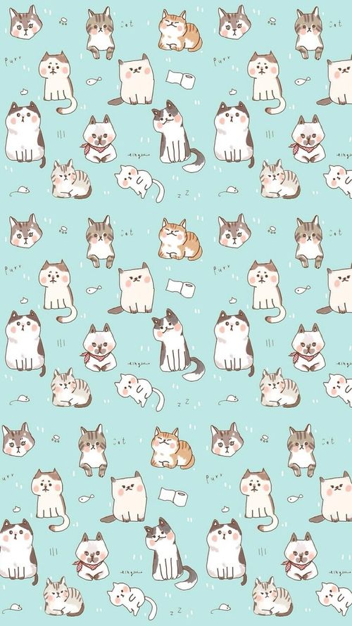 Kawaii Cat Find More Funky Patterns For Your IPhone Android Prettywallpaper
