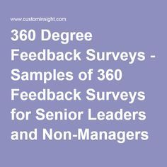 Degree Feedback Surveys  Samples Of  Feedback Surveys For