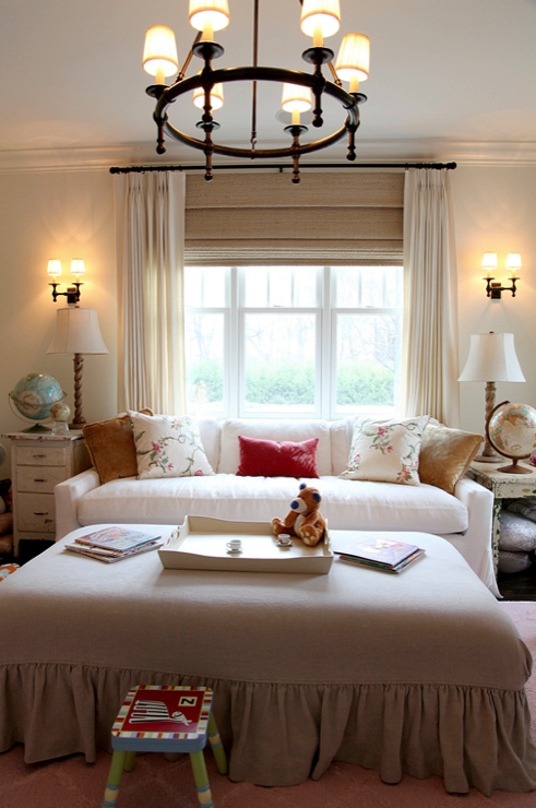 sweet white sofa cover   nurseries - white slipcover sofa vintage tables mushroom ...