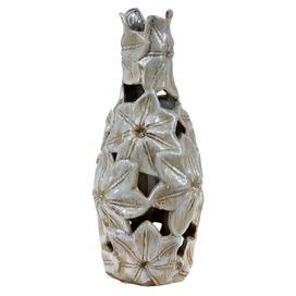 """Ceramic openwork vase with lustrous floral detail.   Product: VaseConstruction Material: CeramicColor: WhiteDimensions: 18"""" H x 8"""" DiameterCleaning and Care: Wipe clean with a dry cloth"""