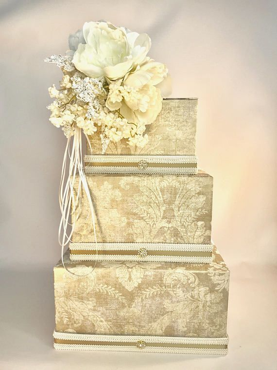 Antique Wedding Card Box with Lock French Inspired Peony Ivory ...