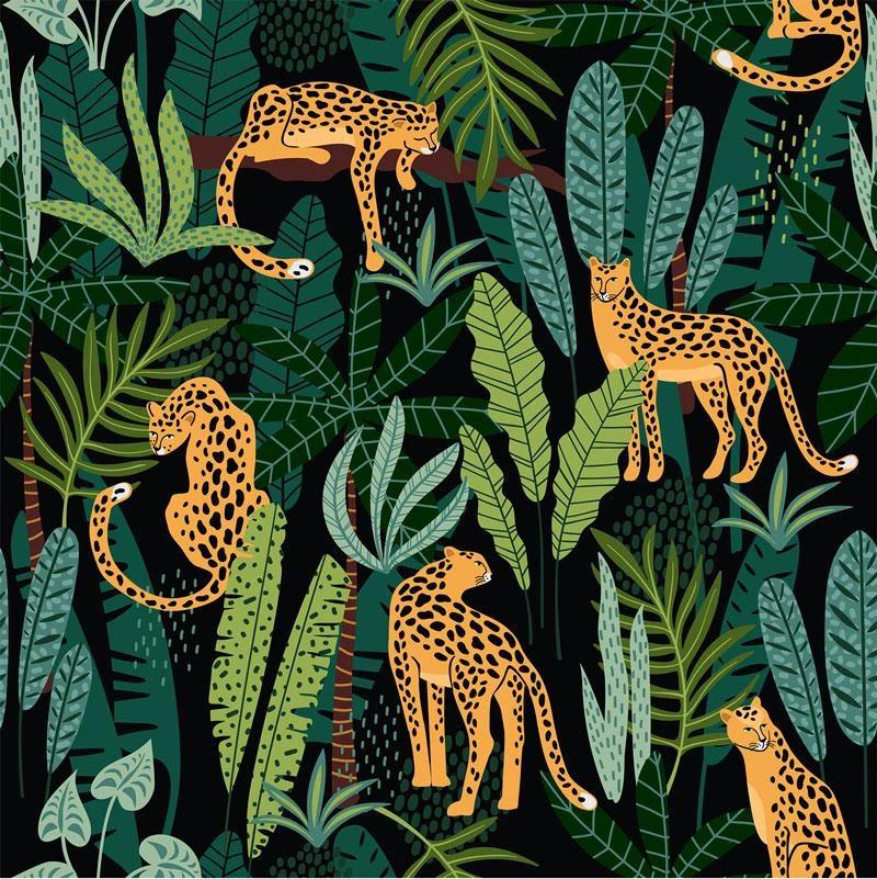 Jaguar Print Wallpaper 044 Jungle Art Jungle Pattern Jungle Illustration