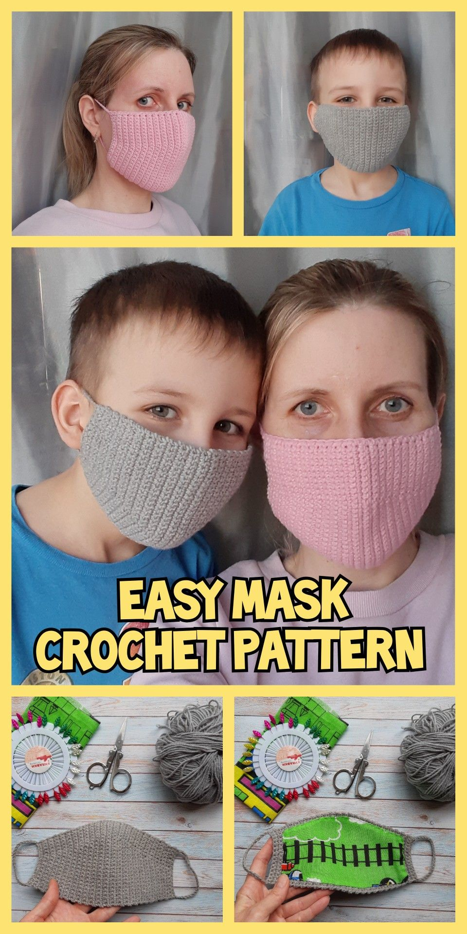 Photo of MASK CROCHET PATTERN, Easy Pattern Reusable Face Mask , Washable Mask for kids and adults, Mask for