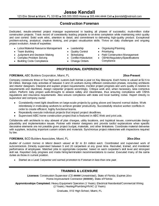 free resume templates for carpenter foreman