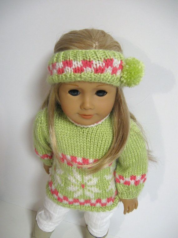 American Girl Doll Clothes -- FallSweaters-Snowflakes -Lime ...