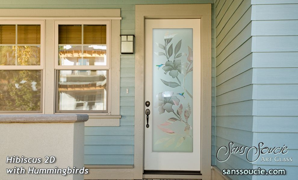Hibiscus 2d Misted W Hummingbirds Glass Entry Front Doors Glass
