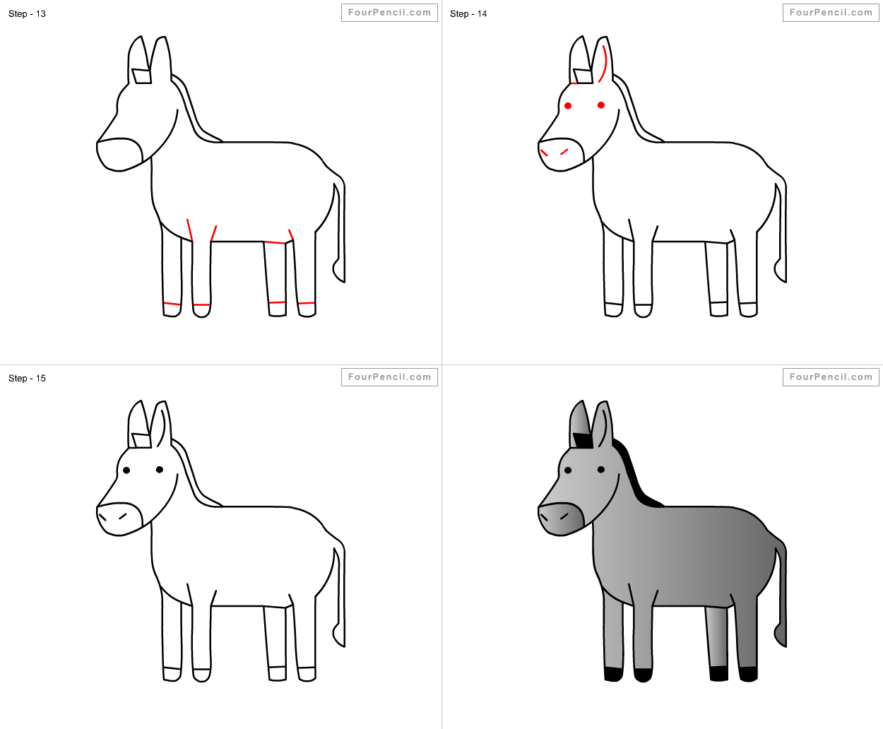 How To Draw Donkey For Kids Step By Step Drawing Tutorial Draw