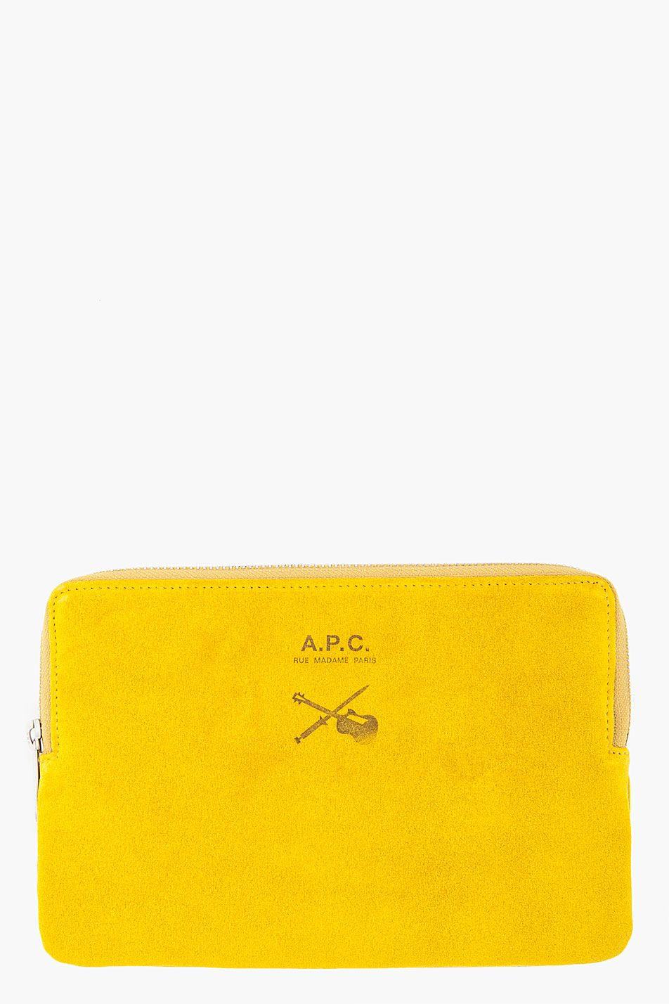 { Yellow suede wallet by A.P.C. [$235] }