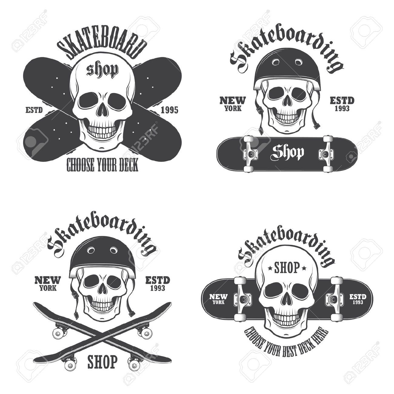 Skateboard clip art images skateboard stock photos amp clipart - Set Of Skateboarding Emblems Labels And Designed Elements Royalty Free Cliparts Vectors And Stock Illustration