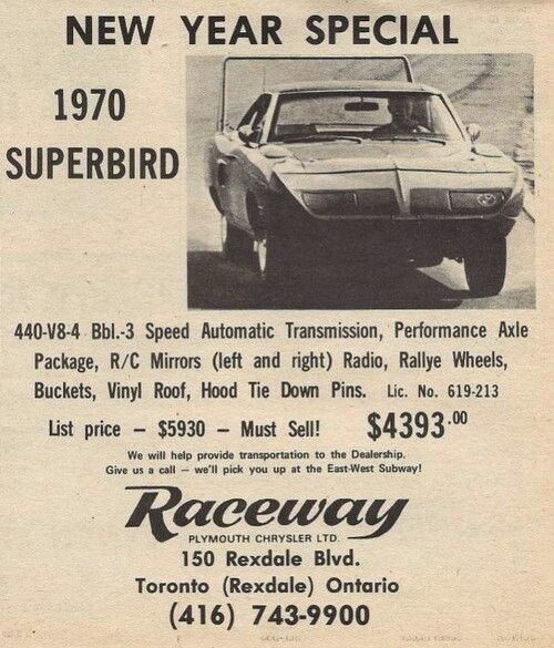 New Year Special 70 Plymouth Superbird 4393 Cars Car Ads