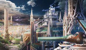 ciudad de anime, las estructuras de la ciudad
