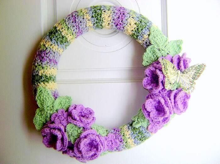 Handmade 14 Inch Crochet Wreath with Roses and Butterfly by Rhody ...