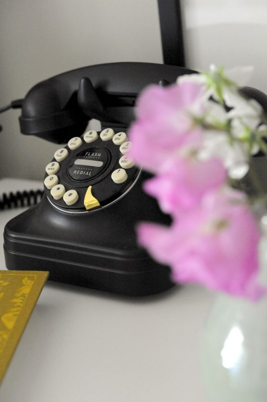 black vintage style dial up phone, modernised with push buttons. #interior #home #telephone
