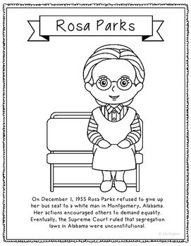 Rosa Parks Coloring Page Craft or Poster with Mini Biography, Civil ...