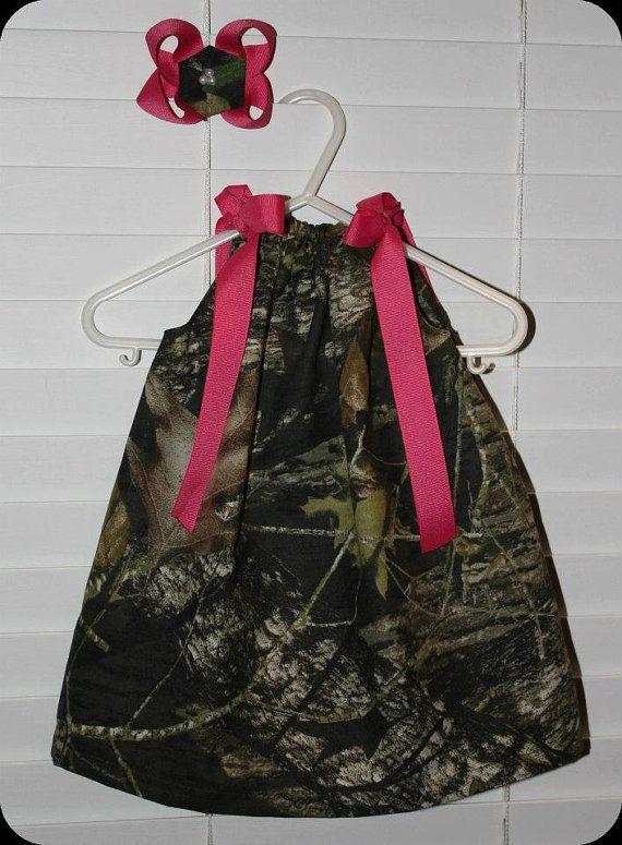 Mossy Oak Camo Pillowcase Dress. Cute with hot pink or blaze orange ribbon!