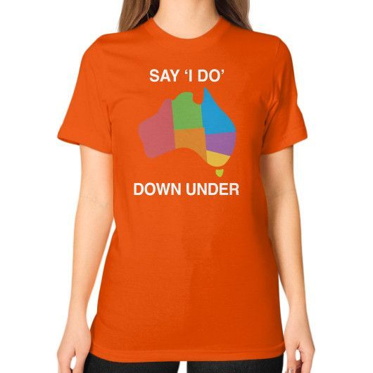 Say I Do Down Under Shirt Unisex T-Shirt (on woman)
