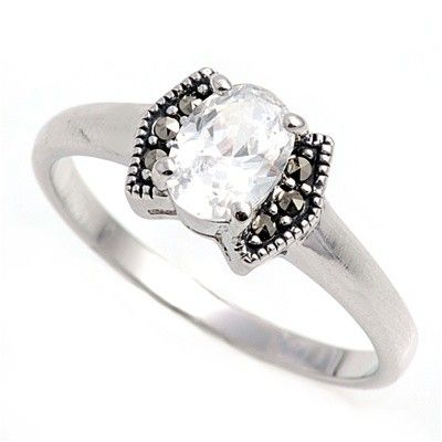 Christie S 1ct Oval Cut Cubic Zirconia Silver Marcasite Ring