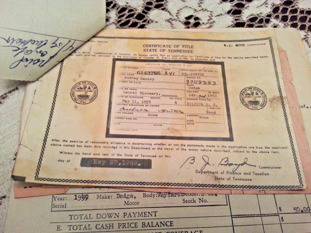 vintage 1950 dodge 2 dr motor vehicle 1959 car title bill of sale