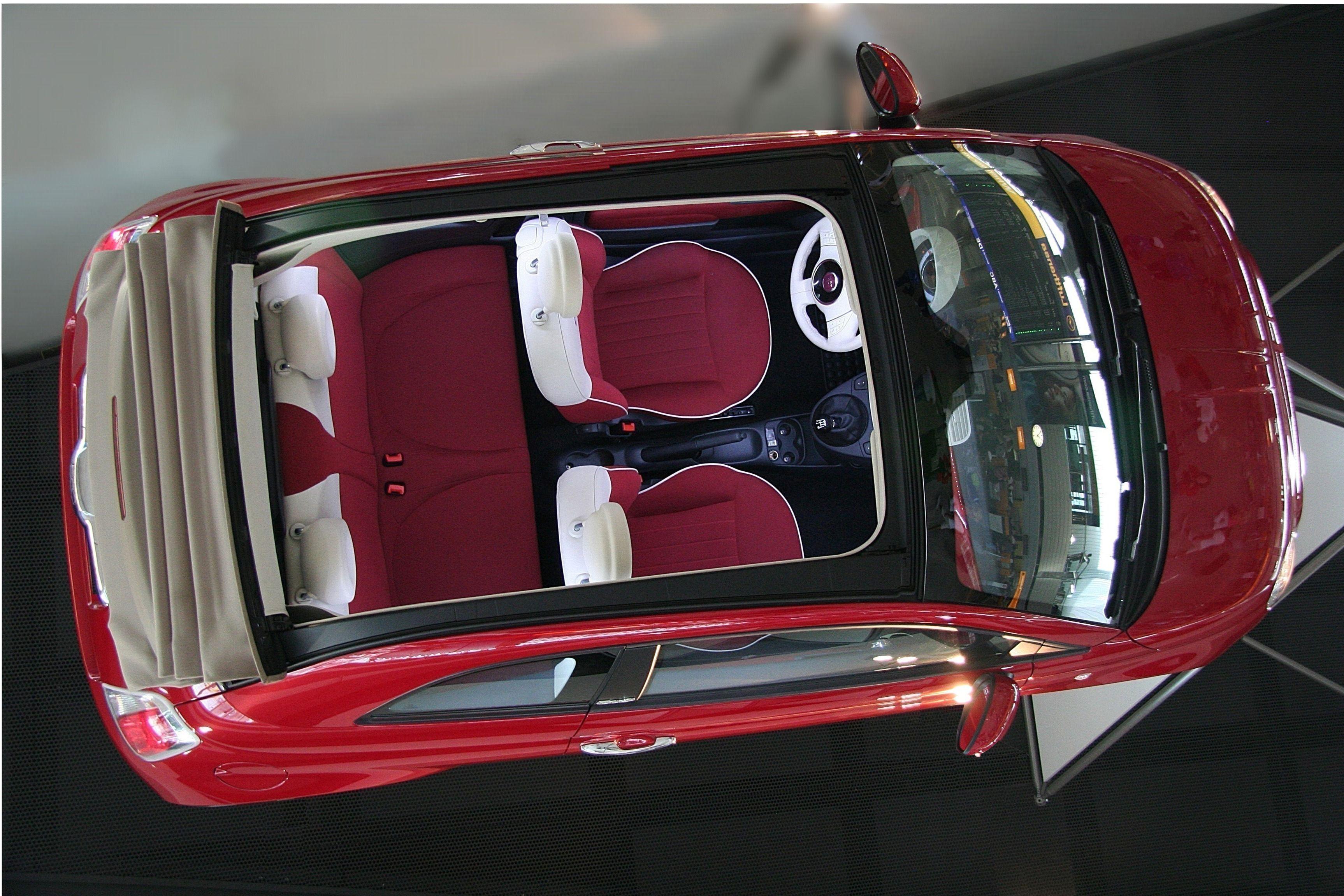 Fiat 500 cabrio automatic cabrio automatic rental car in crete