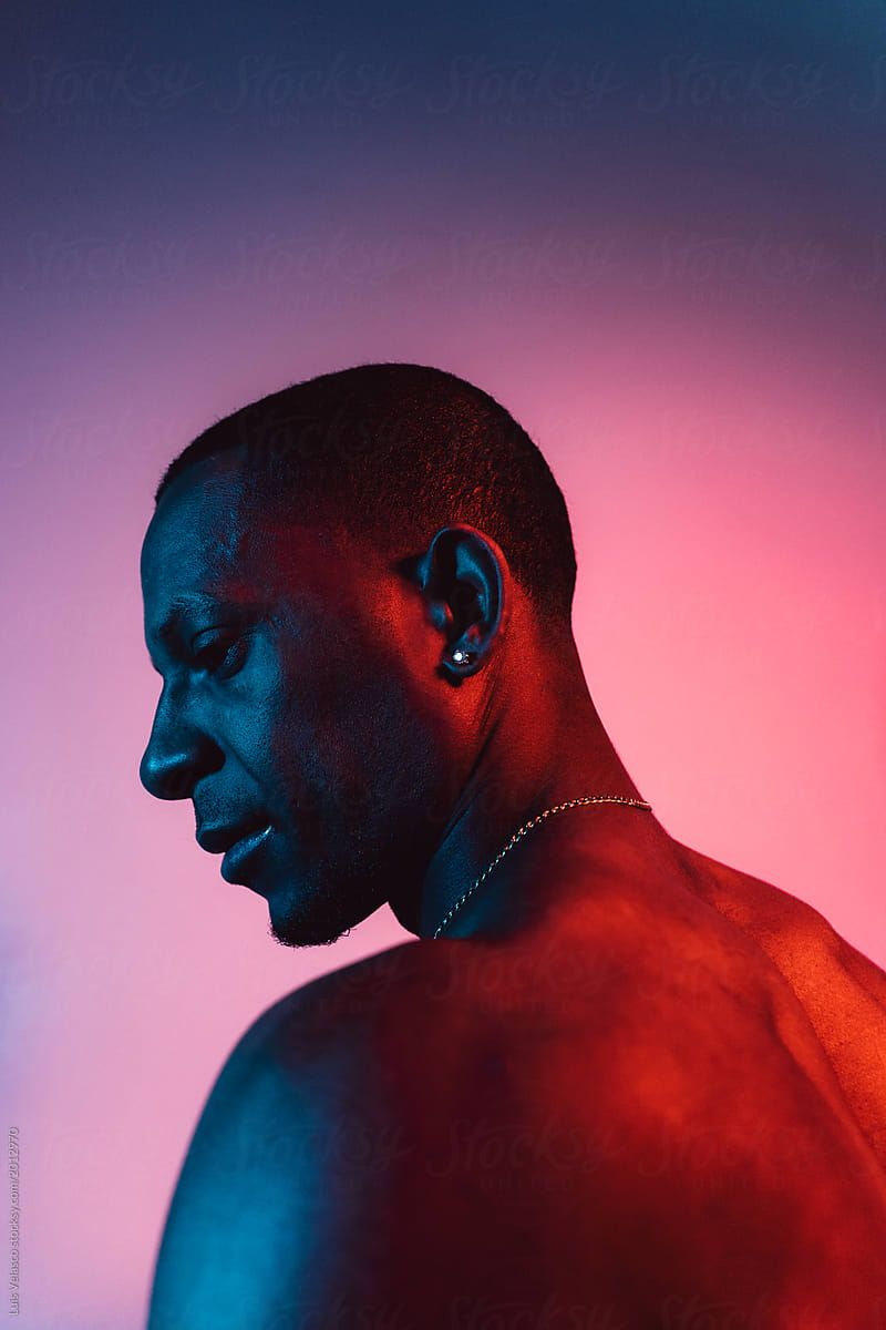 Portrait Of A Man Under Blue And Red Lights By Luis Velasco Black Neon Photography Neon Portrait Neon Photoshoot