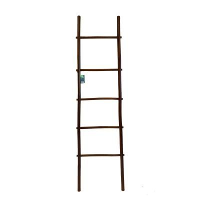 Mgp 6 Ft 5 Shelf Stained Bamboo Ladder Towel Rack In