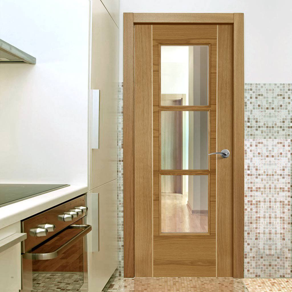 Mirage Oak Door With Ash Inlay And Clear Safety Glass Is Prefinished