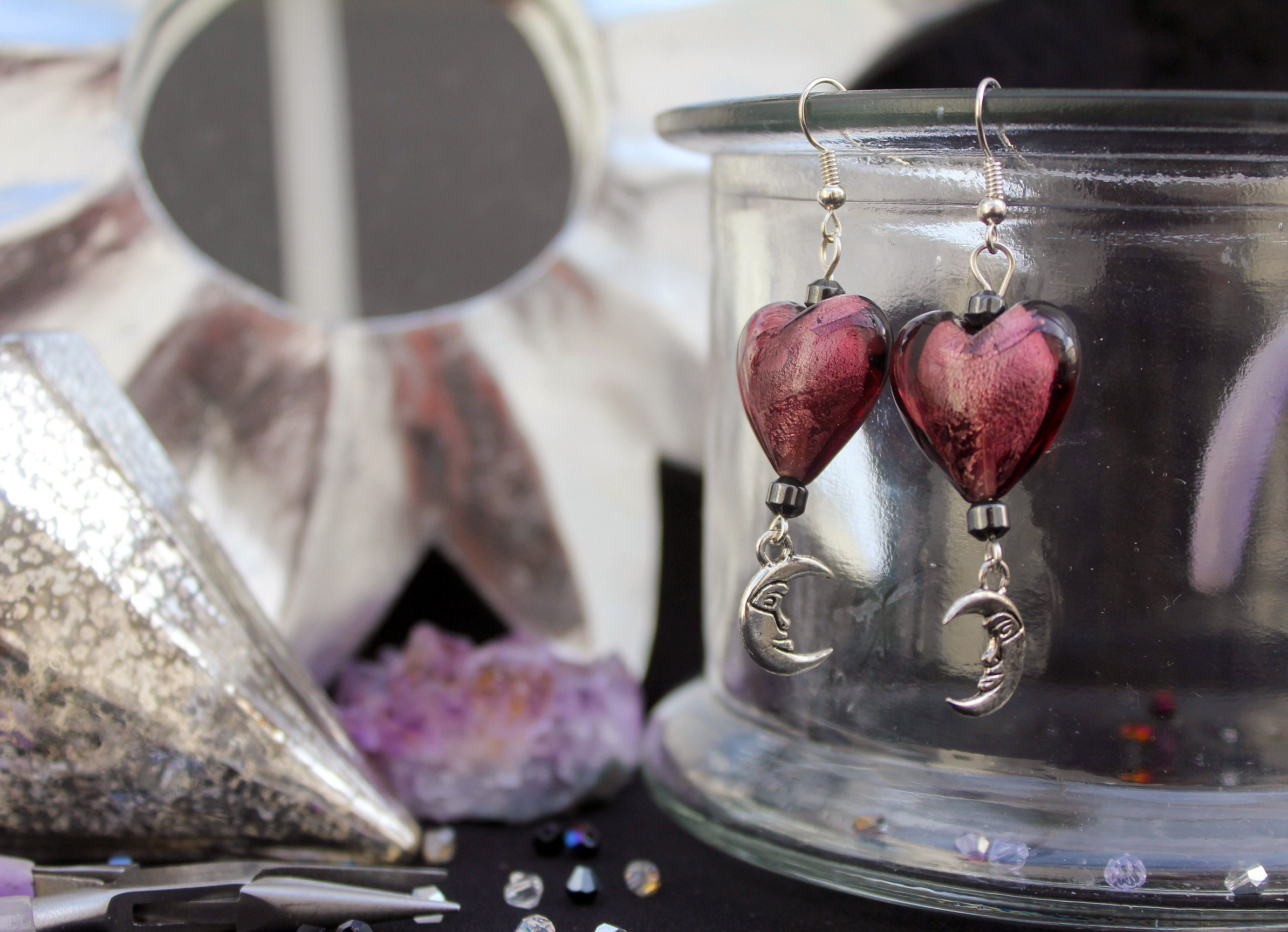 Tibetan silver crescent moons with amethyst Indian glass hearts and seed beads. £8 #boho #bohemian #ethnic #upcycled #handmade