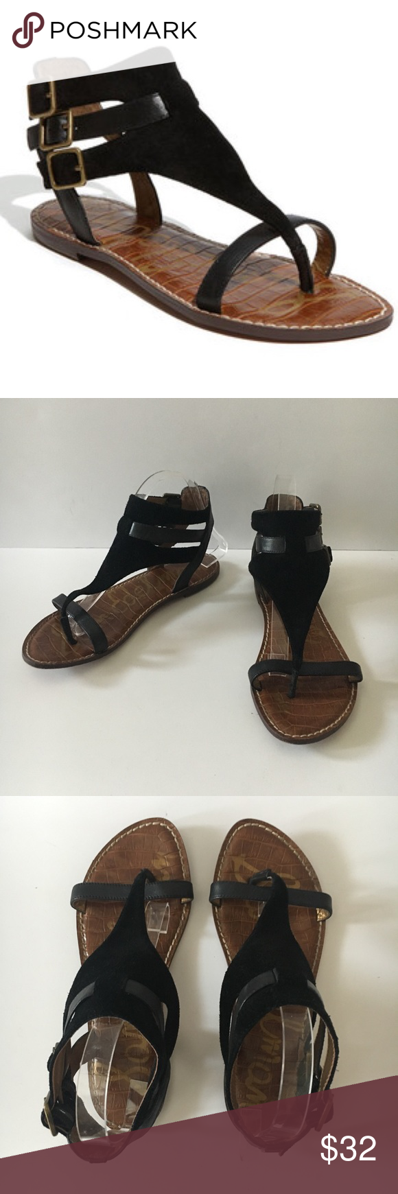b0c19f70c5bb65 Sam Edelman Grenna Suede Leather Thong Sandals Size 8M in very good  preowned condition -Measure