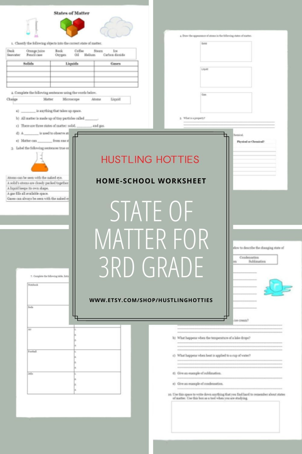 State Of Matter For 3rd Grade Printable Reviewer Worksheet Etsy School Worksheets Learning States Homeschool Support