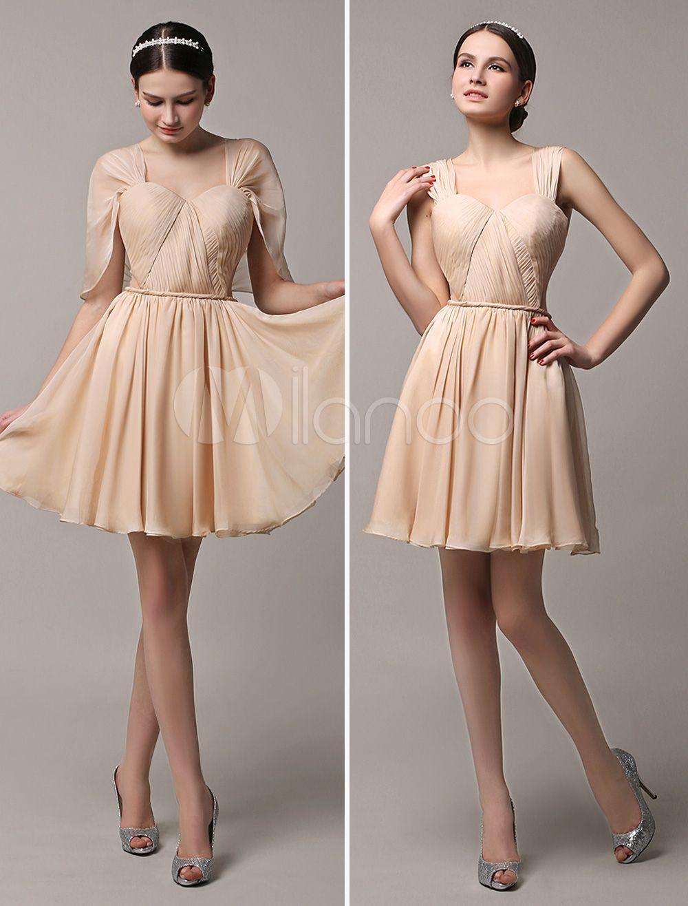 Curto ouro champanhe do Chiffon conversível verão vestido dama de ... 83e0bfd0532e