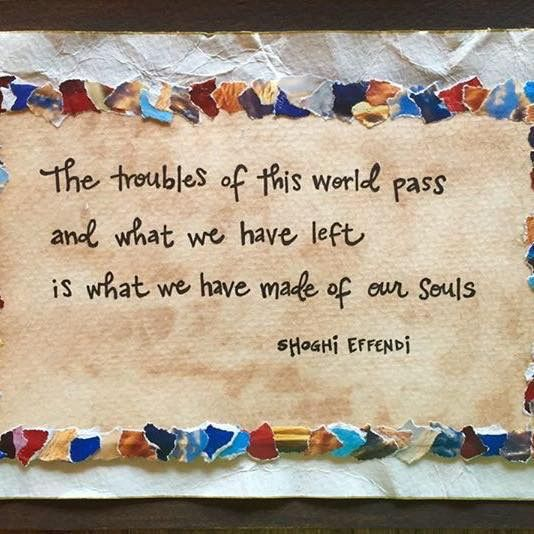 The troubles of this world pass and what we have left is what we have made of…