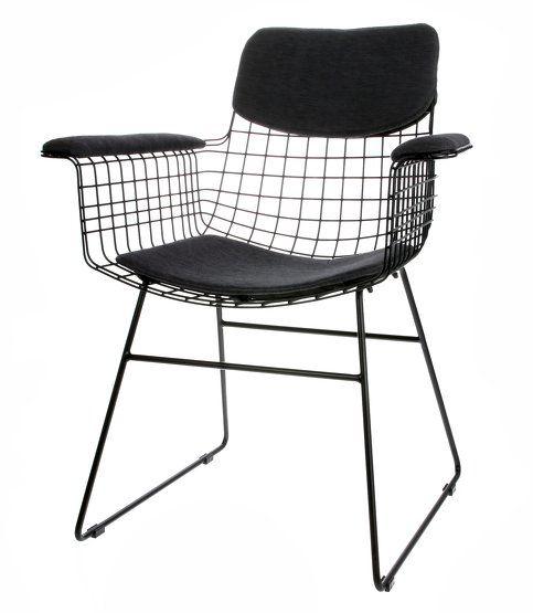 Coussins noirs pour chaise avec accoudoirs Wire HKliving Image 1