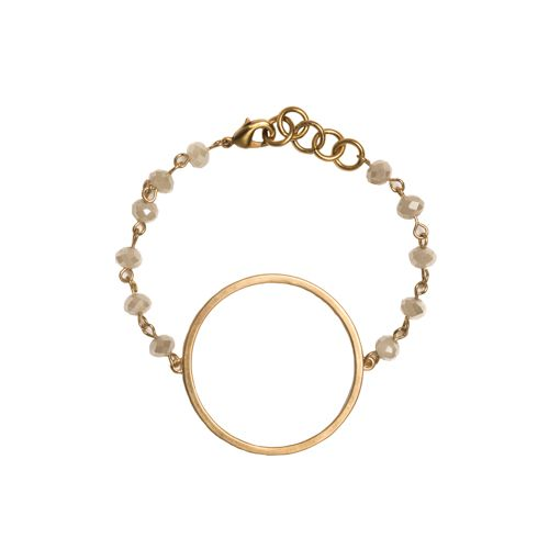 Gold Circle Cutout on Khaki Beaded Bracelet - Large Gold Quatrefoil Cutout Earrings - Beaucoup Designs Silhouette Collection features time proven shapes combined with beads, pearls, chains and leather. #festivalstyle #ss2016 #goldjewelry #jewelry
