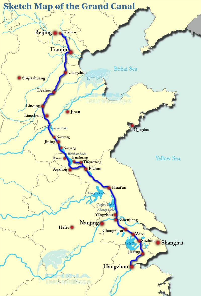 Grand Canal of China Map Chinese canals and roadways joined rural