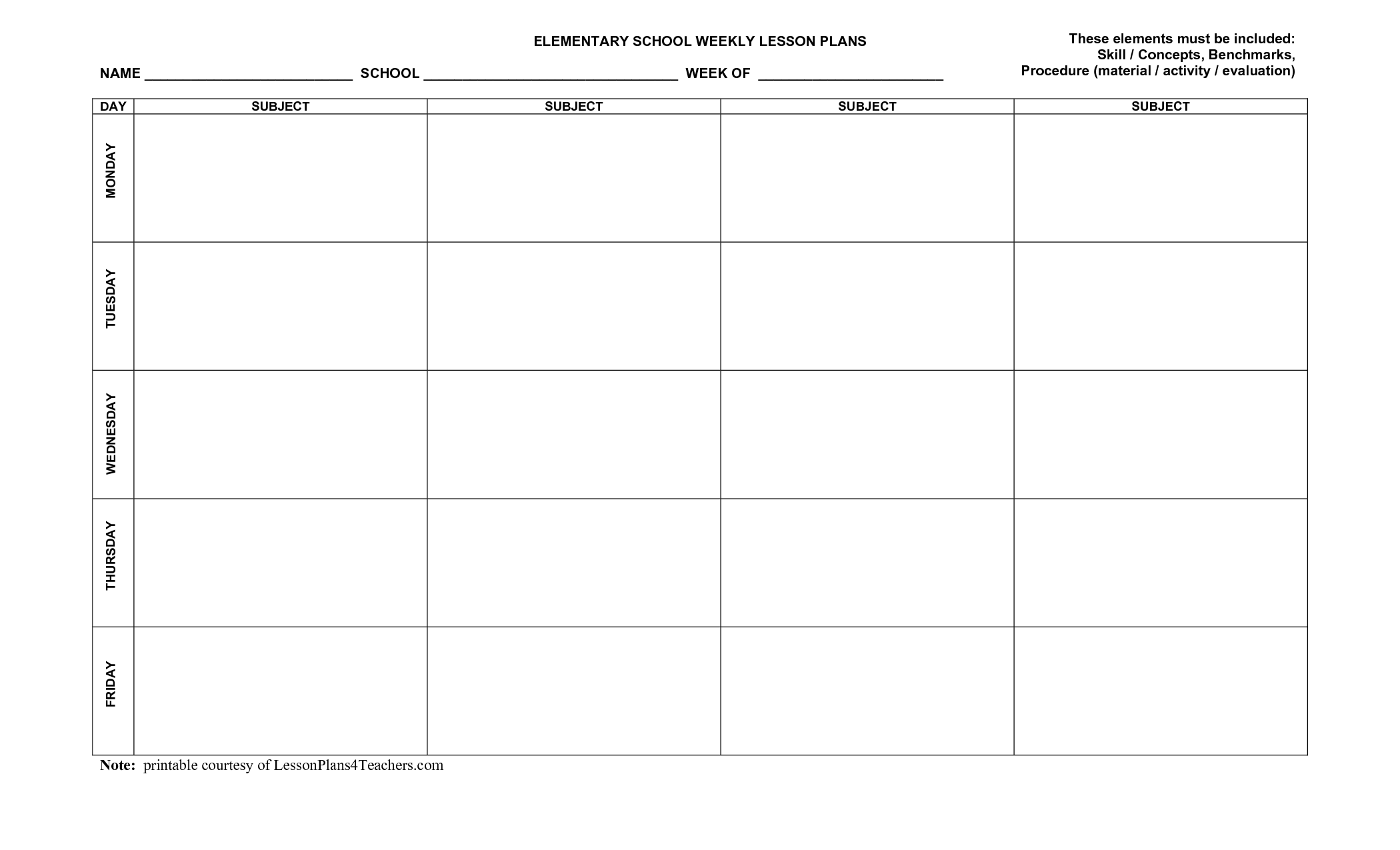 Blank Weekly Lesson Plan Templates