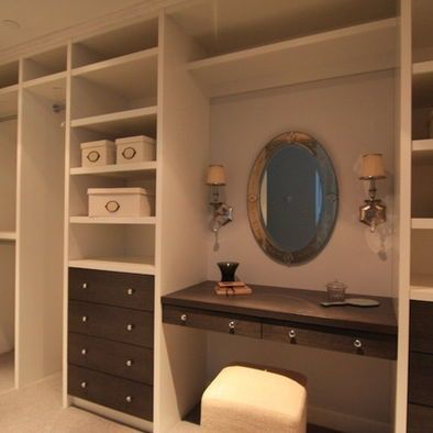 Closet makeup vanities in walk in closets design pictures remodel decor and ideas page 2 Master bedroom with bathroom vanity