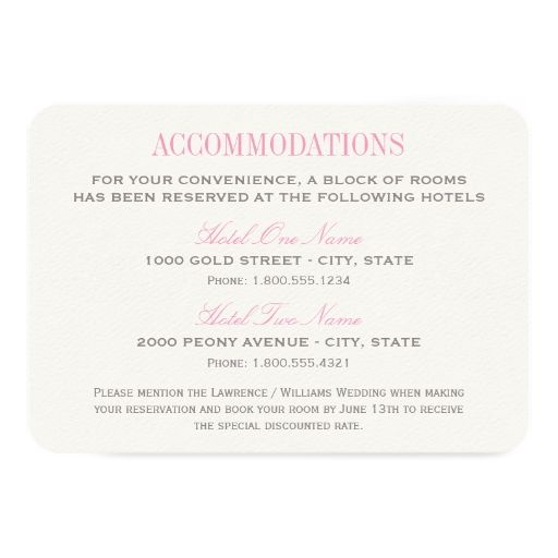Wedding Accommodation Card Pink And Gray Zazzlecom Pink
