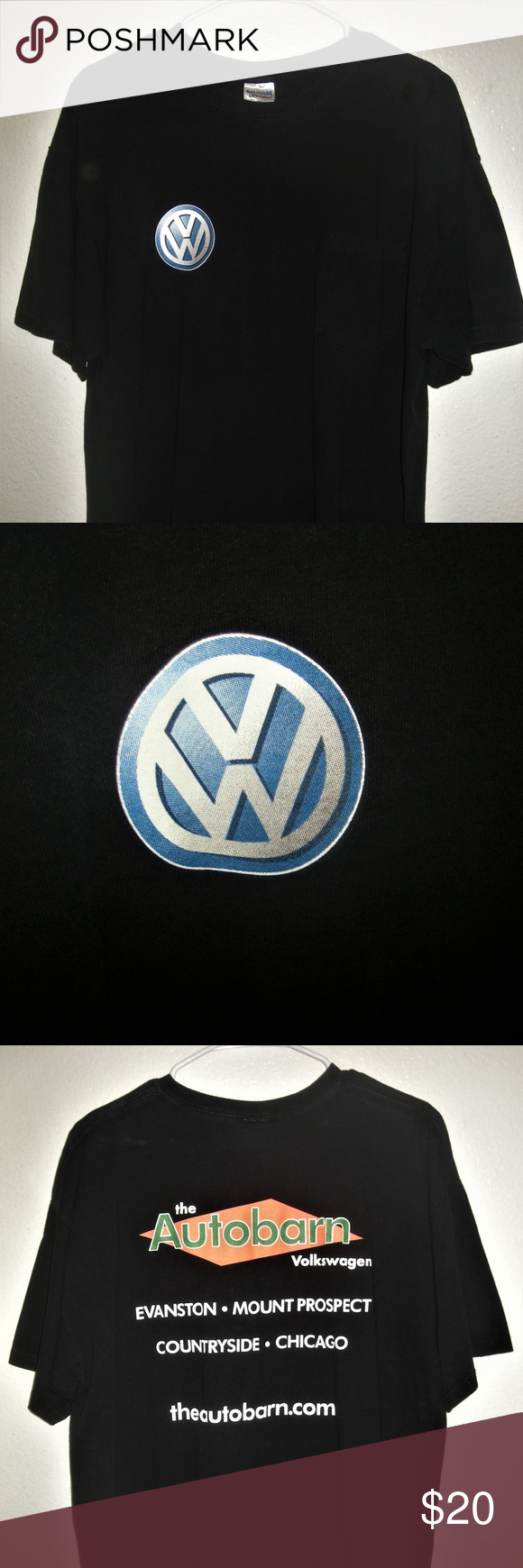 Vw Volkswagen S S Pocketed 2 Sided Crew Neck Shirt Crew Neck Shirt Neck Shirt Clothes Design