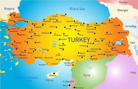 vector color map of turkey map illustration