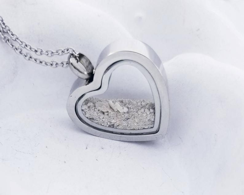 Locket for Ashes Urn Necklace Cremation Memorial Necklace Glass Locket Personalized With Initial Hair Locket Pet Loss Urn Charm